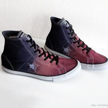 Terracotta red & dark blue ombre dip dye Converse One Star, upcycled high tops, transf