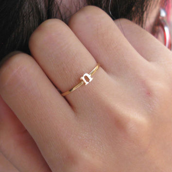 Initial Name Ring - Stacking Ring - Gift For Women