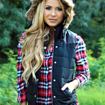 red and navy plaid top