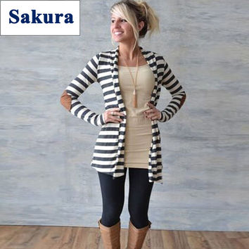 Casual Loose Knit Waterfall Cardigan Long Sleeve