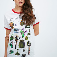 Cactus Ringer Tee in White - Urban Outfitters