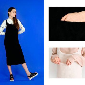 Knit midi dungaree dress (2 Colours available)
