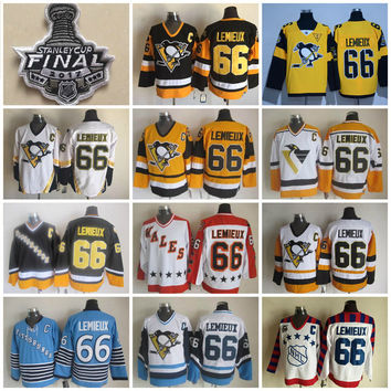 2017 Stanley Cup Throwback Pittsburgh Penguins 66 Mario Lemieux Jerseys Men 1992 Wales 1986 Wales All Star CCM Vintage Hockey Jersey C Patch