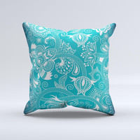 Turquoise Fancy White Floral Design Ink-Fuzed Decorative Throw Pillow