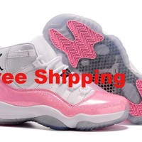 [ Free  Shipping ] Nike Air Jordan 11 Retro White / Pink  Basketball Sneaker