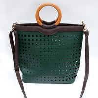 Green Cut Out Ring Handle Bag