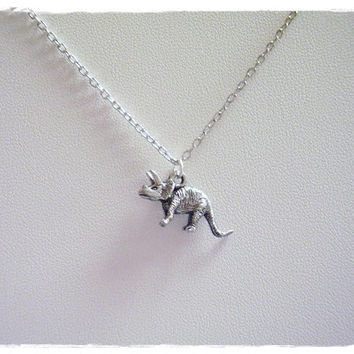 Silver Triceratops Dinosaur Necklace - Antique Pewter Triceratops Charm on a Delicate 18 Inch Silver Plated Cable Chain