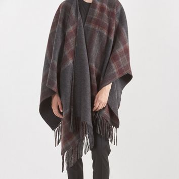 Theory Saiome Plaid Poncho in Charcoal/Brick Multi | The Dreslyn