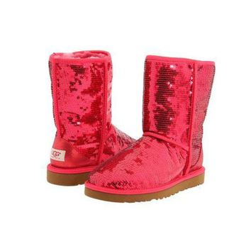 DCCKIN2 Ugg Boots Black Friday 2016 Classic Short Sparkles 3161 Ruby Red For Women 114 45