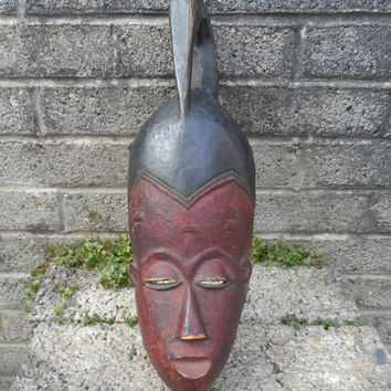 Vintage African tribal mask - vintage carved West African art - hand carved mid 20th century wooden mask