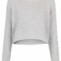 KNITTED RIB CURVE HEM CROP JUMPER