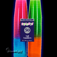 N105090 - Assorted Neon Blacklight Reactive 10 Ounce Party Cups - 50 count