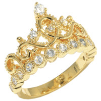 Yellow Gold-plated 925 Sterling Silver Crown Ring