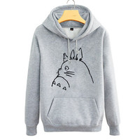 Cartoon totoro couple fleece hoodie