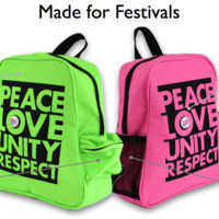 Neon Green PeacePack | PLUR Backpacks for Raves | Small Backpack