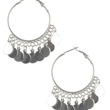 Silver Sequin Fringe Hoop Earrings