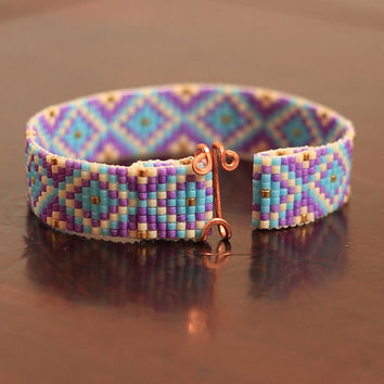 Tribal Diamonds Bead Loom Bracelet - Southwestern - Native American Inspired - Boho - Bohemian - Purple Beaded - Back to School - Artisanal
