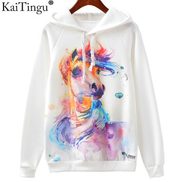 KaiTingu 2016 New Fashion Autumn Winter Sweatshirt Harajuku Owl Print Women Hoodies Hooded White Tracksuit Jumper Pullover Tops