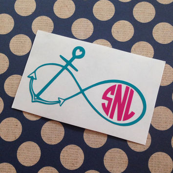Infinity Anchor Monogram | Customized Vinyl Decal | Laptop Monogram | Notebook Monogram | Water Bottle Monogram | Window Decal | Customized