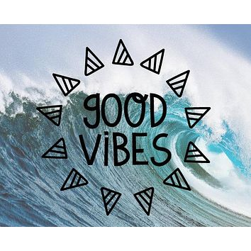 Good Vibes Geometric Triangle Wall Decal Stickers Window Poster Car Laptop Cellphone Decor Wallpapers Vinyl Stickers S-361