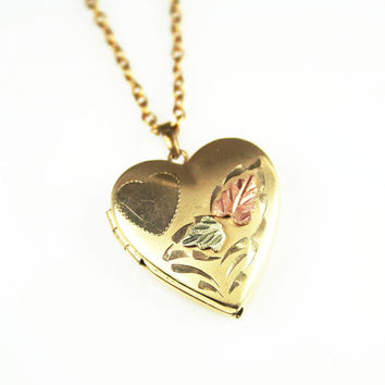 Vintage Locket 14K Gold Filled Heart Shape Leaf Rose Gold Necklace