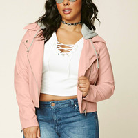 Plus Size Hooded Moto Jacket