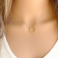 Classic Circle Shape Alloy Pendant Necklace(1 Pc)