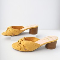Luca Mustard Yellow Suede Mules