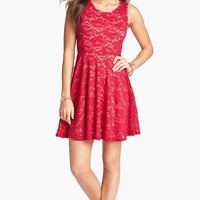 Soprano Sleeveless Lace Skater Dress (Juniors) | Nordstrom