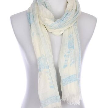 Blue Hindu Elephant Print Frayed Edge Scarf