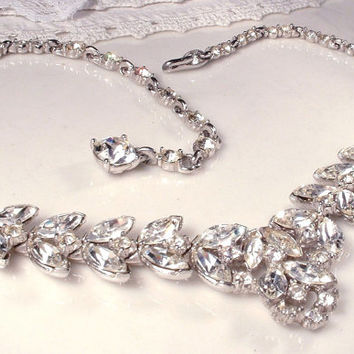 1920s Clear Rhinestone Statement Necklace,Art Deco Bogoff Signed Leaf Necklace, Vintage Bridal Marquise Crystal Silver Link Necklace Gatsby