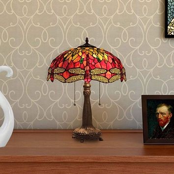 "EMPRESS Tiffany-style 2 Light Dragonfly Table Lamp 16"" Shade"