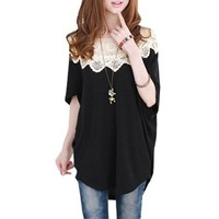 Ladies Scoop Neck Short Sleeve Loose Shirt