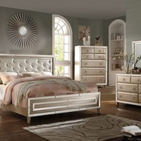 5 pc Voeville collection antique white finish wood and matte gold faux leather queen bedroom set