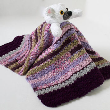 Crochet Cuddly Blanket with Stuffed Polar Bear - Kids Toy - Purple Tones