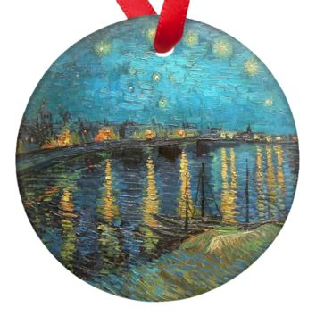 Vincent Van Gogh Starry Night Over the Rhone Double Sided Porcelain Ornaments