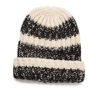 Marled Striped Beanie Black/White One