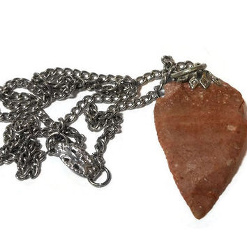 Arrowhead Pendant, antique native stone brown pendant with silver chain and bail