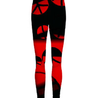 red and black peace legging