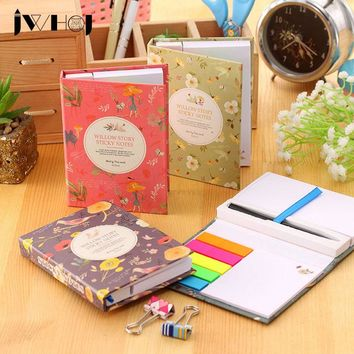 1 set JWHCJ creative hardcover memo pad post it notepad sticky notes kawaii stationery diary notebook office school supplies+pen