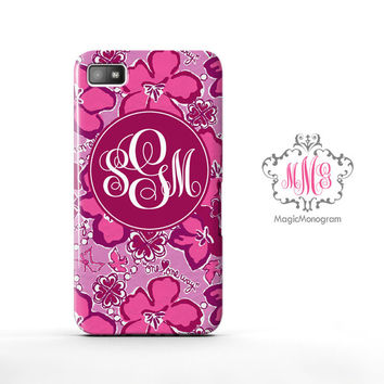 Sigma Kappa Flower Lilly Pulitzer Monogram Blackberry Case Z10, BB Q10 Case