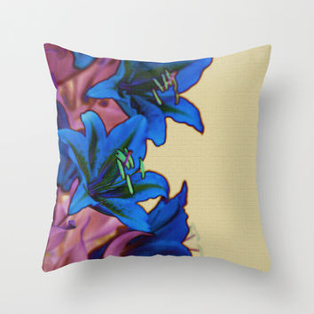 Blue Lilies Pink Flowers on Light Mustard Yellow Stone Wall Throw Pillow by Natural Design