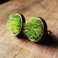 Green Grass Stud Earrings in Tarnished Bronze Round Bezels