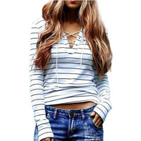 2017 Sping Fashion Women Striped T-shirts Long Sleeve Sexy Deep V Neck Bandage Shirts Ladies Lace Up Tops Tees T Shirt Plus Size