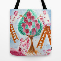 Painting the Roses Red Tote Bag by Susaleena