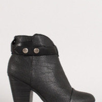 Women's Snap Button Strap Chunky Heel Ankle Bootie