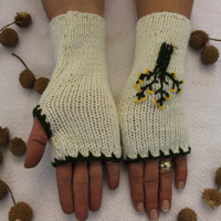 Hand Knitted Fingerless Gloves, Female cream gloves , Life tree embroidered ,Turkish handicrafts, Gift Ideas, For Her, Winter Accessories,