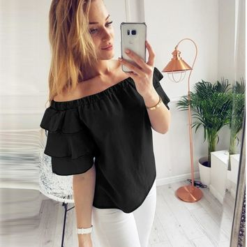 Off Shoulder Casual Slash Neck Top