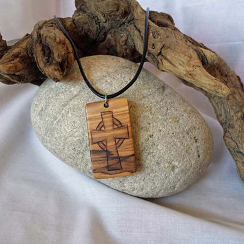 Mens Cross Necklace, Mans Wood Cross, Christian Jewelry