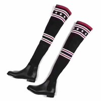 Givenchy Autumn And Winter Fashion Women New Star Stripe Knit Long Shoes Boots Black